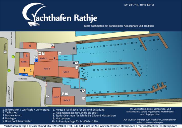 Hafenplan Yachthafen Rathje Kiel für Gastlieger und Dauerlieger