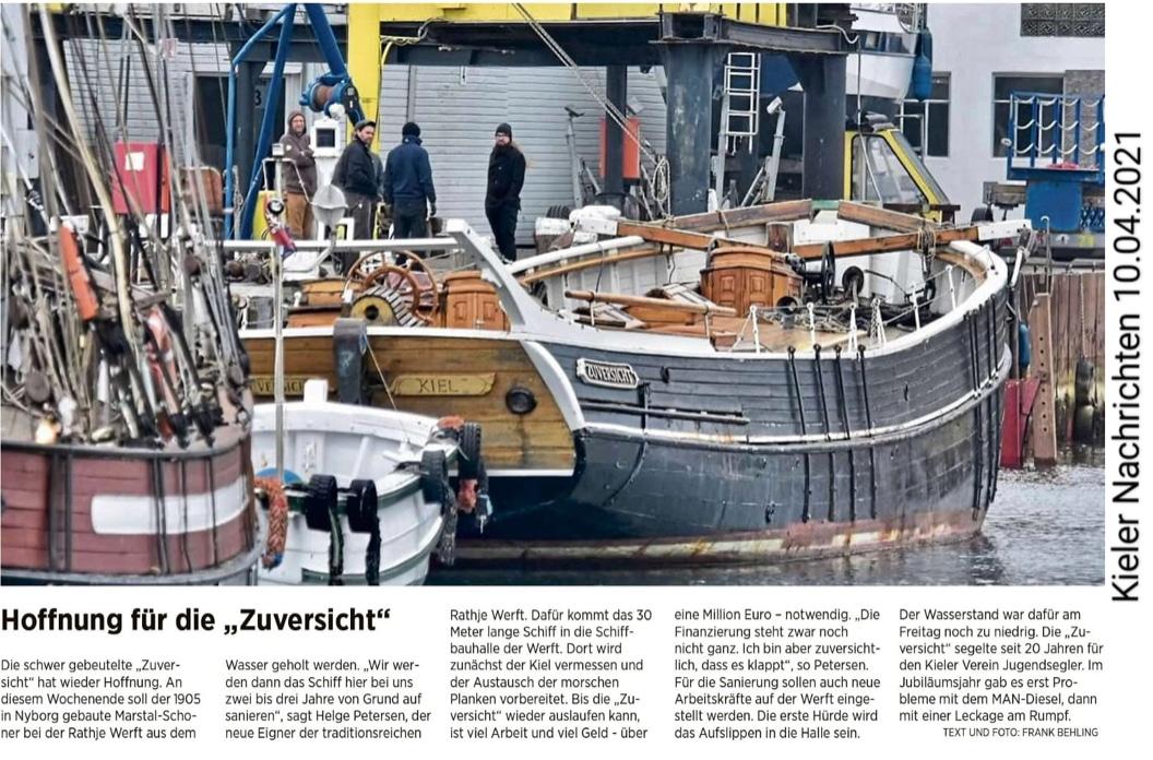 Sanierung Traditionssegler Zuversicht Rathje Kiel